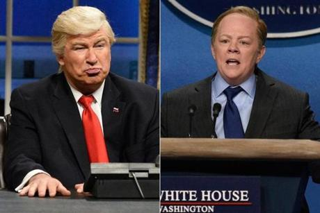 "This week's ""Saturday Night Live"" took aim at President Trump and Sean Spicer"