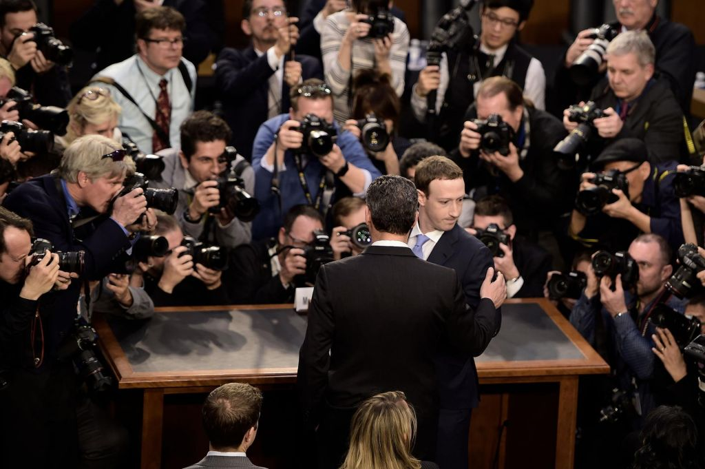 Facebook CEO Mark Zuckerberg arrives to testify before a US Senate hearing in Washington. Brendan Smialowski AFP