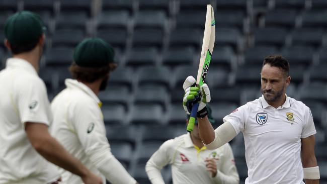 South Africa's captain Faf du Plessis celebrates his century